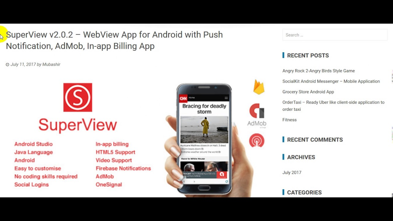SuperView v2 0 2 – WebView App for Android with Push Notification, AdMob,  In app Billing App