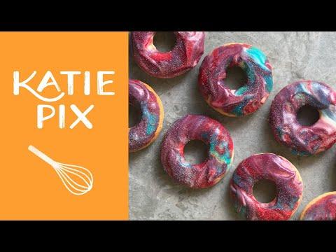 Homemade Baked Galaxy Doughnuts Recipe | #RedNoseDay | Katie Pix