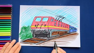 How to draw and color an Indian Railways locomotive and train