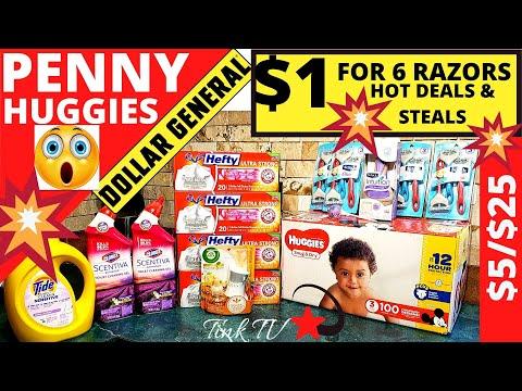 💥 DOLLAR GENERAL| OMG PENNY HUGGIES | $5/$25 HOT DEALS & STEALS | $1 For 6 Razors I Saved $29😱 HOT🔥