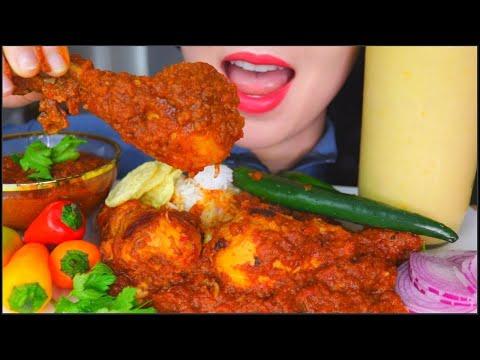 ASMR SPICY CHICKEN CURRY TARI WALA + RICE + CHILLIES + ONION + MANGO LASSI KARI AYAM 咖喱鸡咀嚼音 먹방