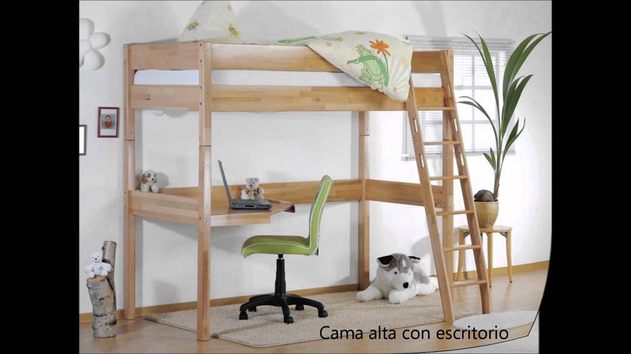 Literas y camas altas infantiles youtube for Camas en madera economicas