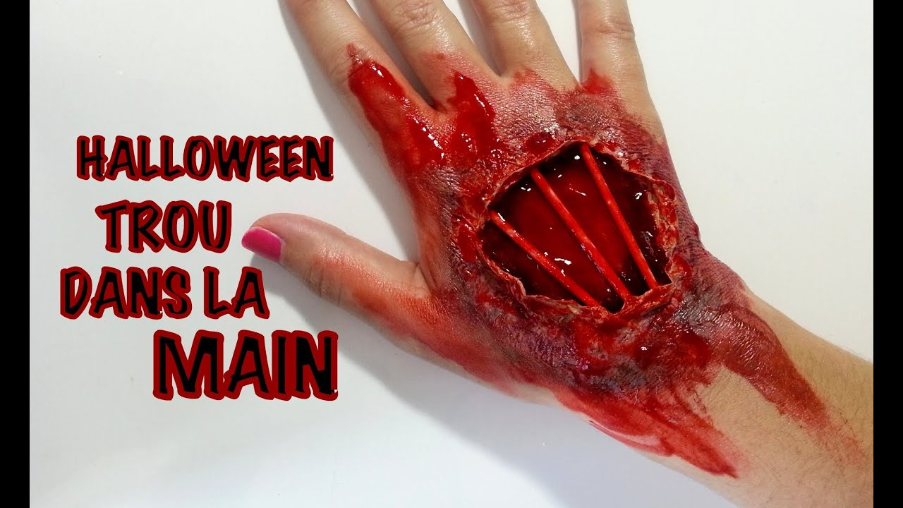 Halloween maquillage artistique trou dans la main youtube - Maquillage halloween latex ...