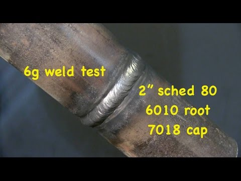 "6g Weld Test -2"" Schedule 80 6010 root 7018 cap UA-8"