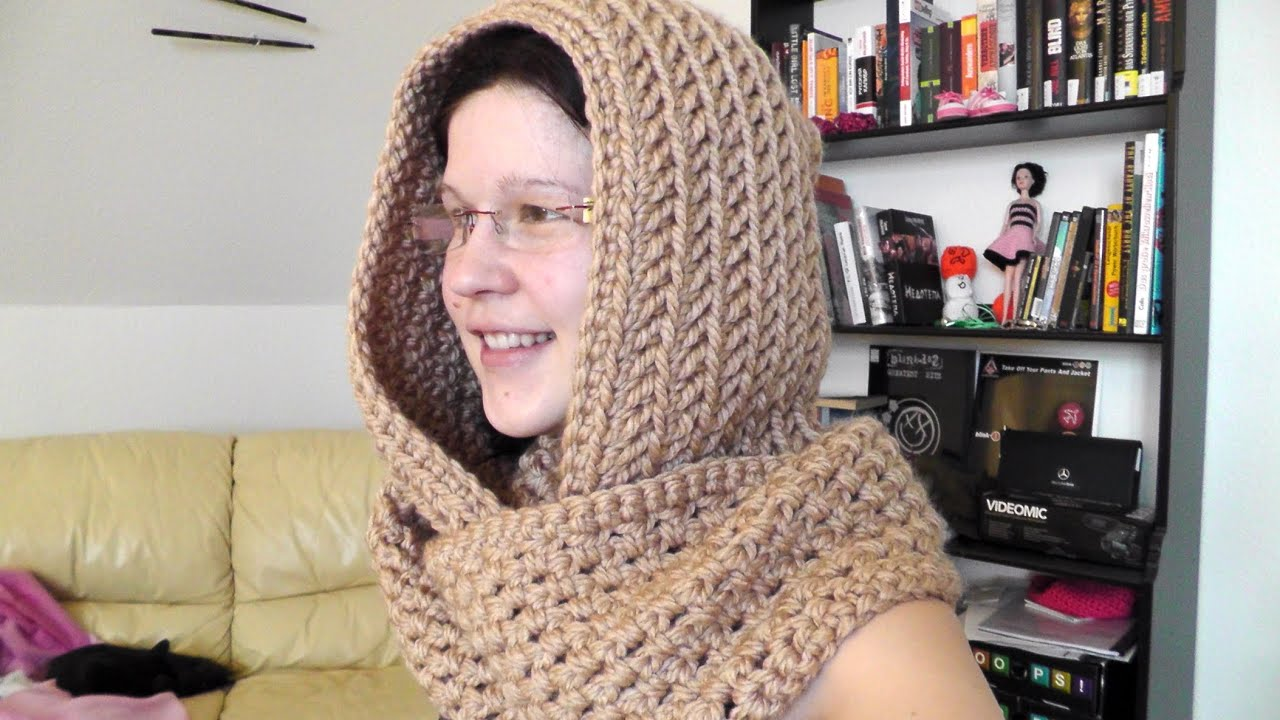 How to crochet a scoodie hooded scarf for left handed - YouTube