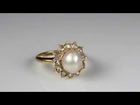 VICTORIAN NATURAL BASRA PERSIAN PEARL AND DIAMOND FLOWER CLUSTER RING