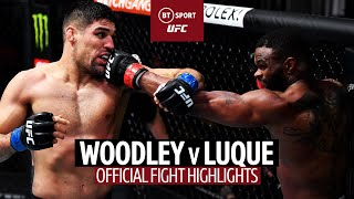 Tyron Woodley v Vicente Luque | Crazy one-round fire fight! | UFC 260 Official Fight Highlights