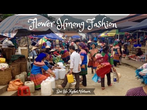 Bac Ha Market Vietnam with Flower Hmong Ethnic Group