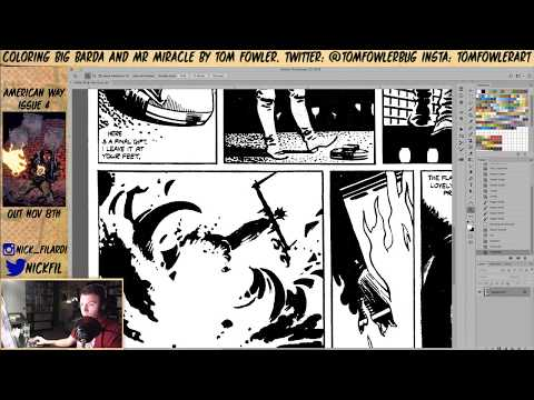 V for Vendetta Recolor- Getting a black and white page from colored comic.