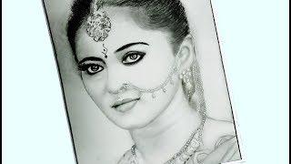 Anushka shetty drawing step by step / Bahubali Devasena painting
