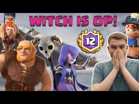 BEST WITCH DECK! 12 Win Witch Giant Miner Hybrid Deck LIVE Grand Challenge Gameplay - Clash Royale