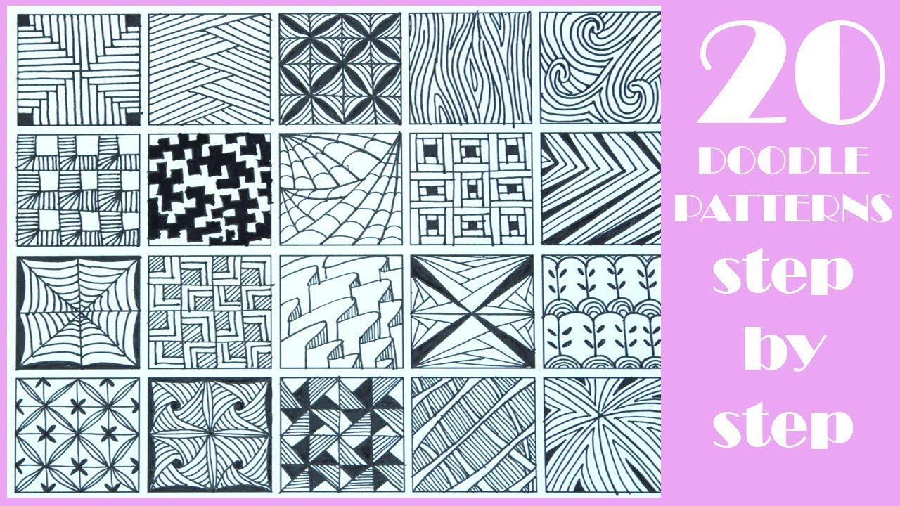 20 EASY Doodle Patterns | Step by Step | Zentangle patterns