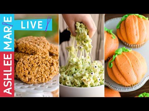Easy Halloween Treats - Pumpkin Cupcakes, Marshmallow Popcorn And Pumpkin Rice Krispy Treats