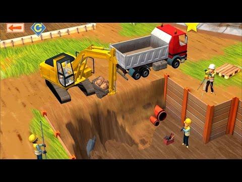 แมคโคร ตักดิน รถสิบล้อ ขนดิน รถปูน  ช่าง ก่อสร้าง เกมส์สำหรับเด็ก