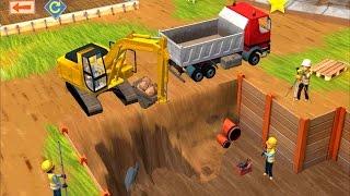 Repeat youtube video แมคโคร ตักดิน รถสิบล้อ ขนดิน รถปูน  ช่าง ก่อสร้าง เกมส์สำหรับเด็ก