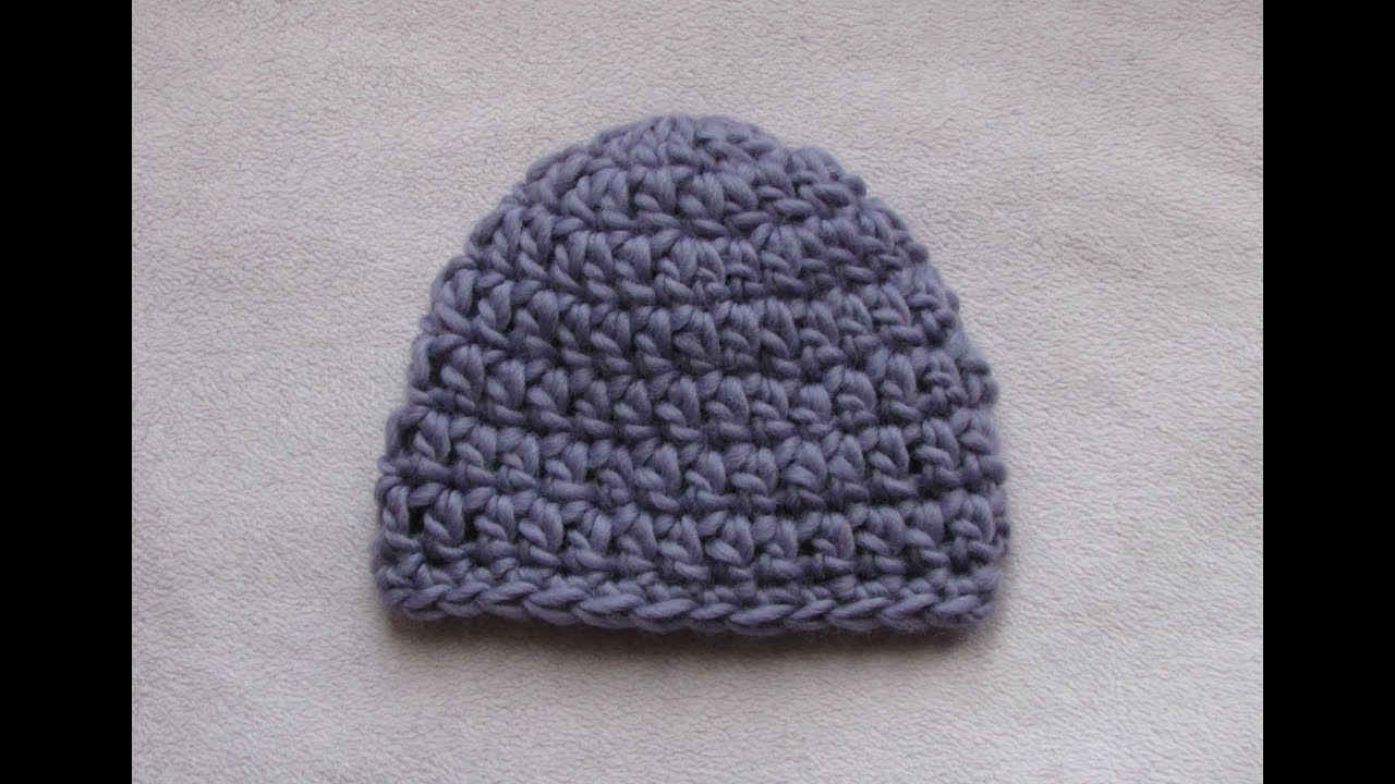 Crochet Pattern Baby Hat Bulky Yarn : VERY EASY crochet chunky baby hat tutorial - 20 minute ...