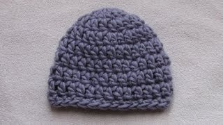 VERY EASY crochet chunky baby hat tutorial - 20 minute baby hat