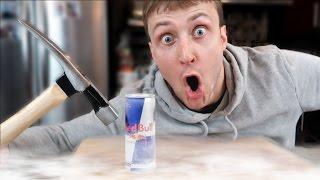 Science Experiment LIQUID NITROGEN vs RED BULL (EXPLOSION DANGER ALERT)