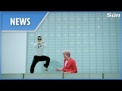 Prime Minister Theresa May dancing Gangnam style montage