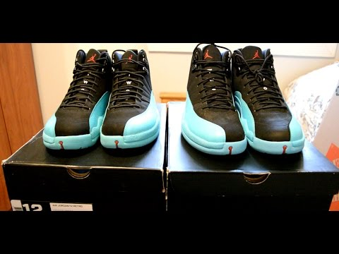 nike air jordan 12 xii gamma blue real vs fake side by side. Black Bedroom Furniture Sets. Home Design Ideas