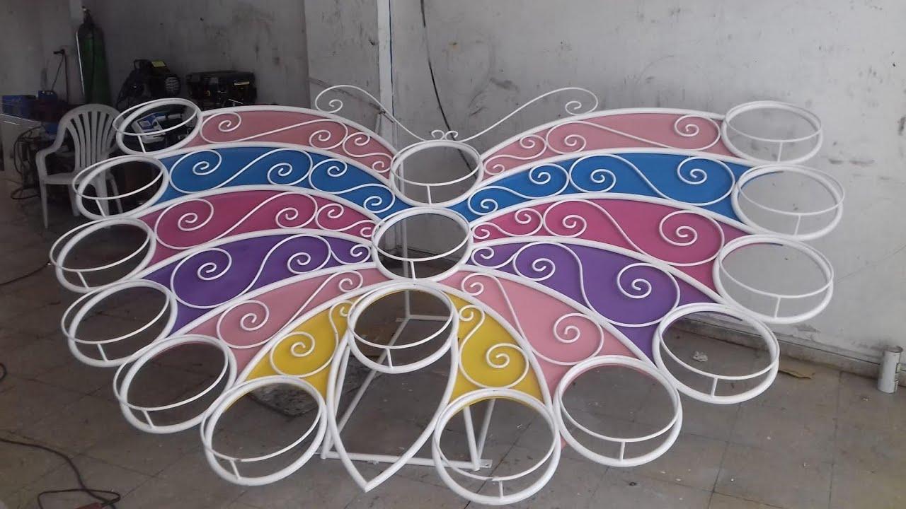 طريقة صنع فراشة عملاقة من الحديد اربع امتار لزينة حديقة الفلل والقصور والساحات العامة
