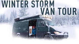 Winter Storm In DIY Sprinter Conversion - Van Tour!