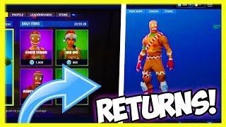 FORTNITE GINGERBREAD MAN SKIN est COMING BACK! (Fortnite MERRY MARAUDER SKIN RETURNING)