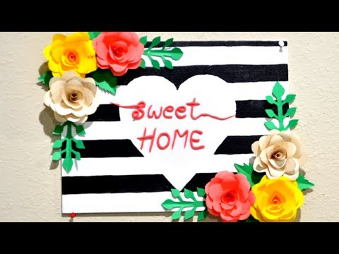 DIY 3D FLOWER CANVAS || UNIQUE WALL HANGING IDEAS | DIY PAPER CRAFTS|  EASY CANVAS ART