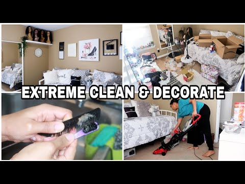 CLEAN & DECORATE WITH ME 2020. SPEED CLEANING MOTIVATION. Beauty/Guest Room - 동영상