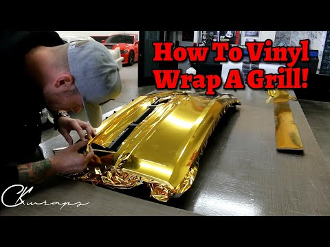 HOW TO VINYL WRAP A FRONT GRILL IN GOLD CHROME Using INLAYS!
