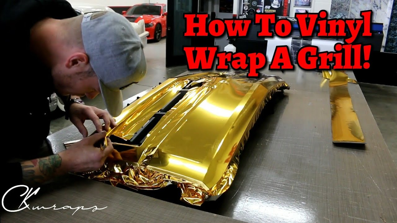 How To Vinyl Wrap A Front Grill In Gold Chrome Using
