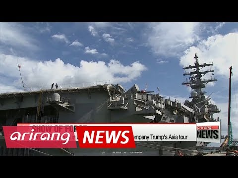 Three U.S. carriers in west Pacific for drill to accompany Trump's Asia tour