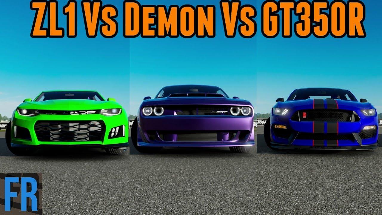 Camaro Zl1 Vs Demon Vs Shelby Gt350r Forza Motorsport 7 Youtube