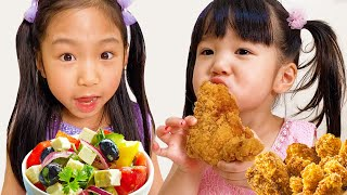 Yume and Rena Pretend Play School & Eat not Healthy food