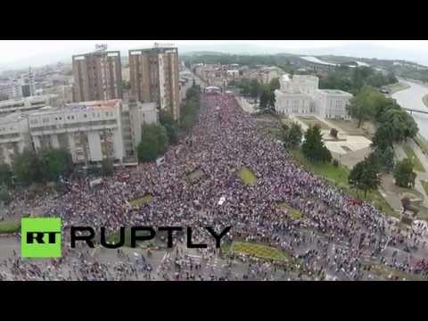 Drone captures massive anti-government rally in Skopje, Macedonia