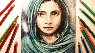 Speed Drawing - Portrait Afghanistan Girl