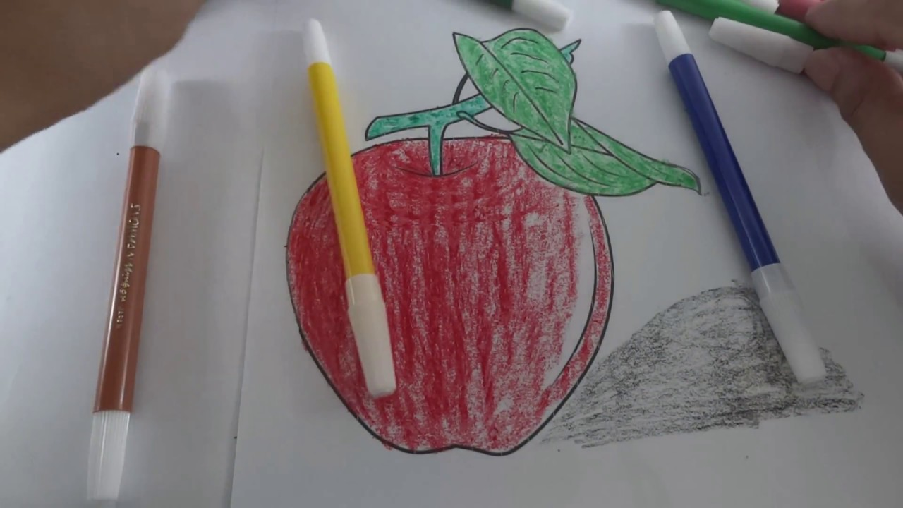 learn colouring apple for kids mewarnai buah apel colours for kids