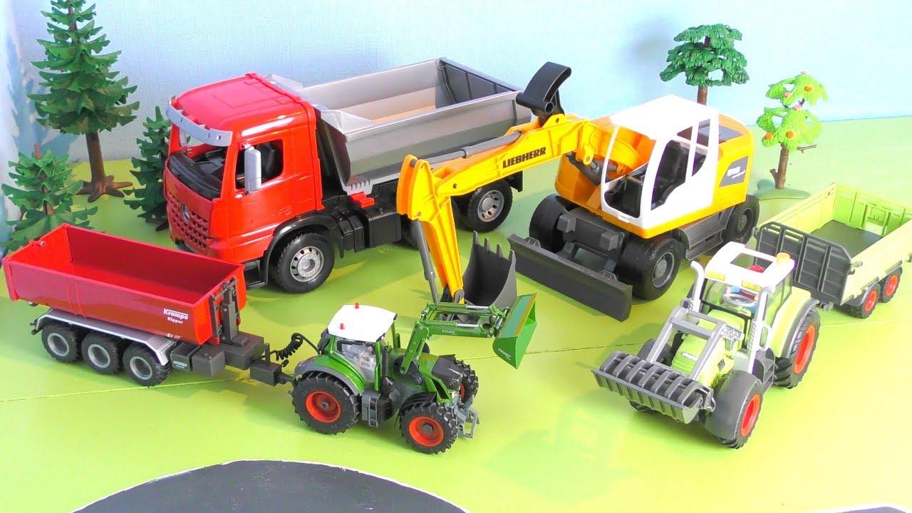 traktor bagger lastwagen trucks fahrzeuge f r kinder vehicles for kids youtube. Black Bedroom Furniture Sets. Home Design Ideas
