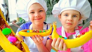 Шоколадно-банановый десерт.  Видео рецепты для детей.