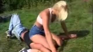 Girl beats guy