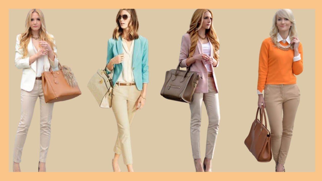 Pantalones En Tendencias De Moda 2020 2021 Looks Y Outfits Con Pantalon De Color Beige Youtube
