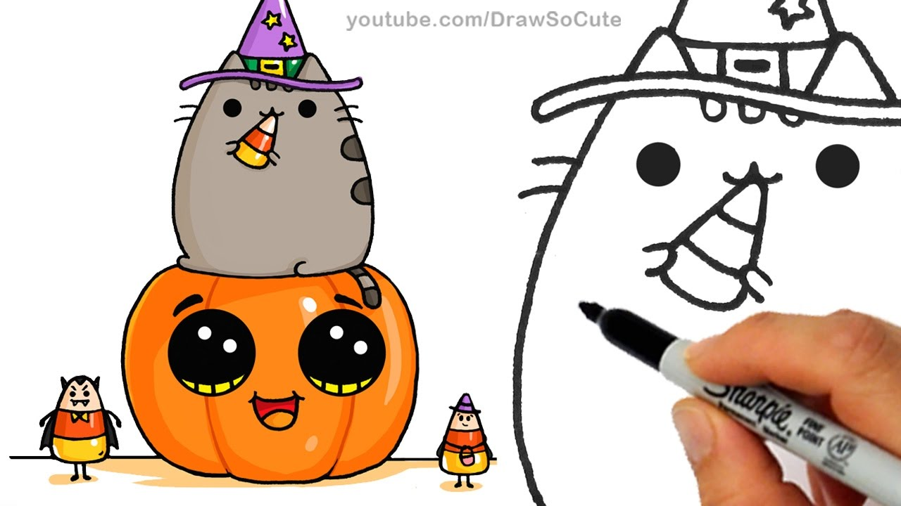 Halloween Pumpkin Drawing Picture.How To Draw Pusheen Cat On Pumpkin With Candy Corn Step By Step Easy Halloween