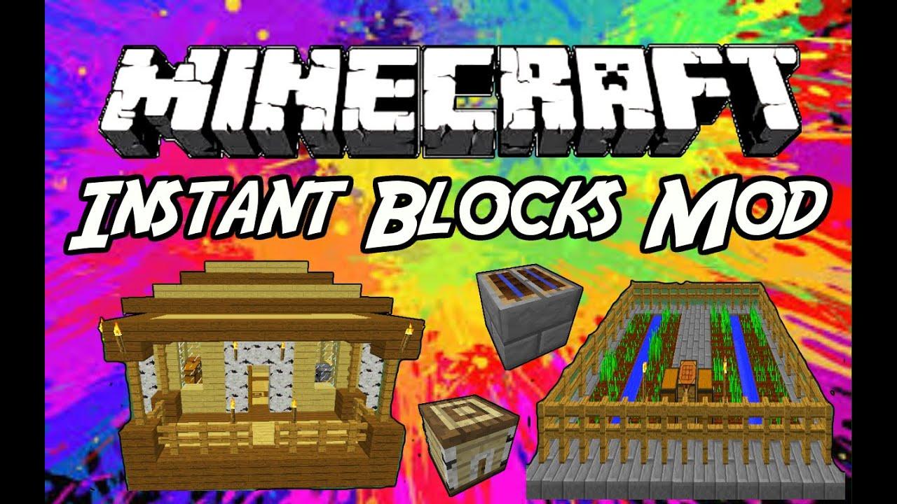 Minecraft Mods Instant Blocks Mod YouTube - Minecraft hausbau mod 1 7 10