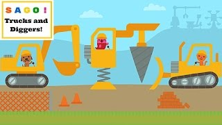 Sago Mini Trucks And Diggers! Six MIGHTY Construction MACHINES l For Kids