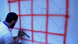بالشريط اللاصق اصنع بنفسك ديكور ثري راقي optical illusion tape wall design