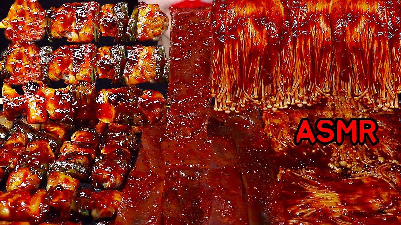 ASMR मसालेदार चिकन, मशरूम, नूडल्स *RECIPE TUSUK SATE AYAM PEDAS, JAMUR DAN BIHUN SPICY FOOD ASMR
