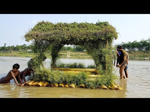 Floating House Making From Scratch - Primitive Way Build Amazing House On Water Of Beautiful River