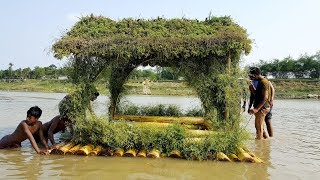 Build Garbage Banana Tree Boat House - Primitive Floating House Making On River Water