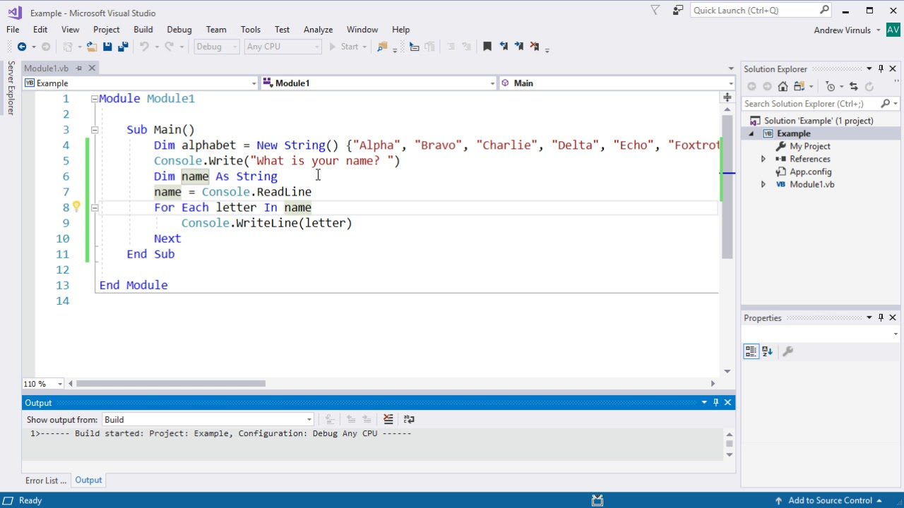 Visual Basic - Using For Each to Loop through an Array or String