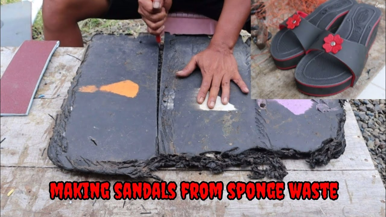 Making sandals from sponge waste